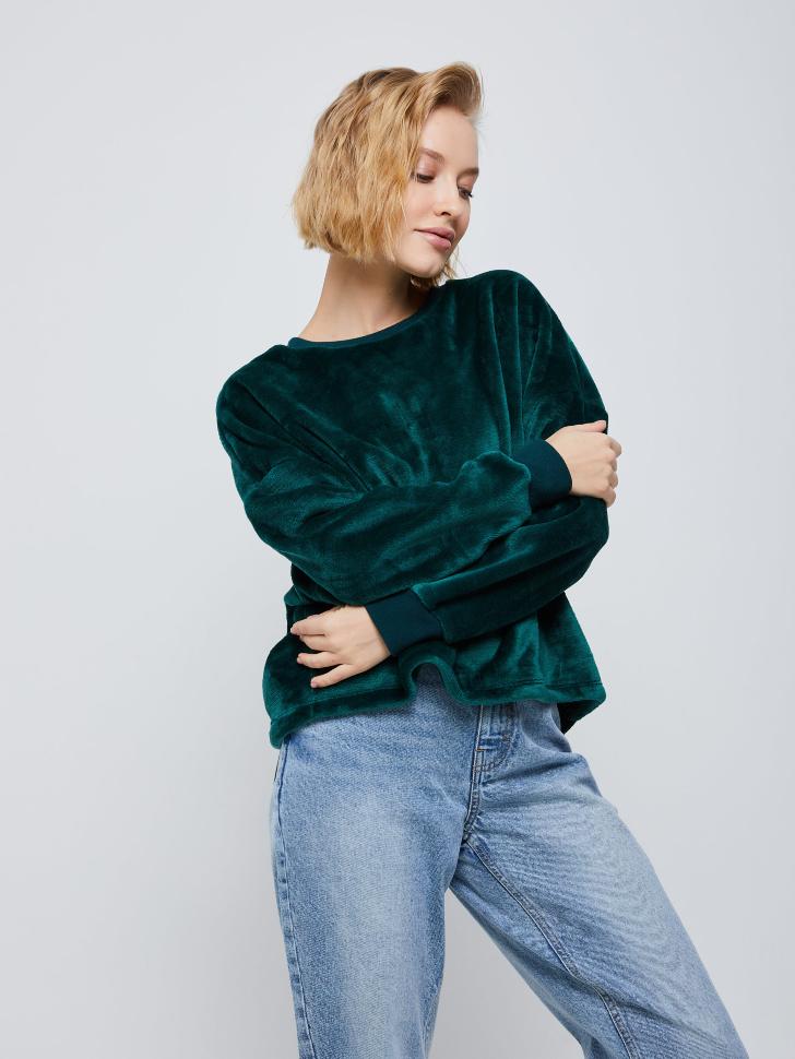 Плюшевый свитшот (зеленый, M)