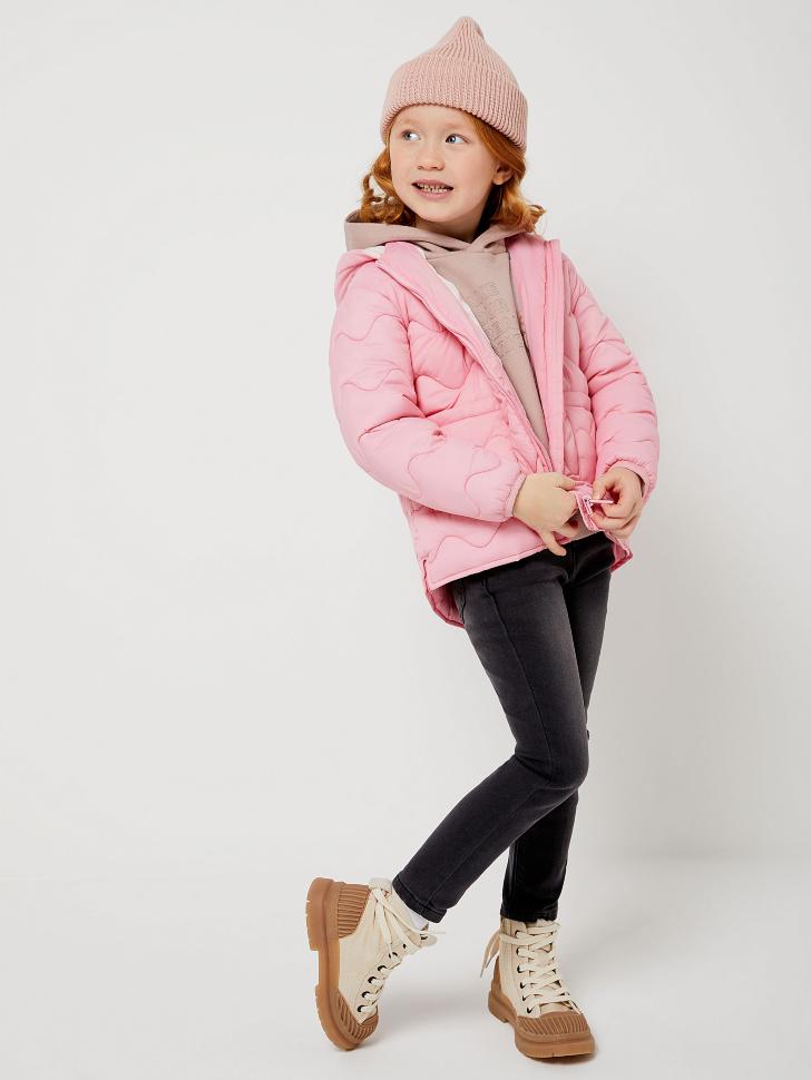 Стеганая куртка для девочек с сумкой (розовый, 116/ 6-7 YEARS)