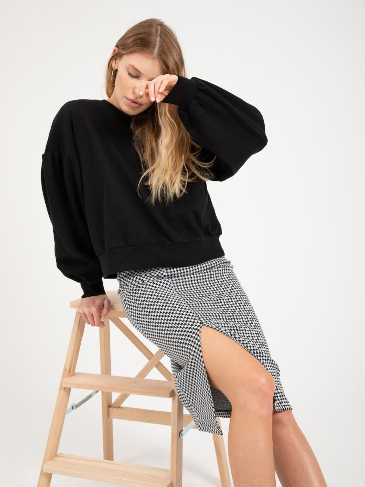 юбка с разрезом (серый, S)