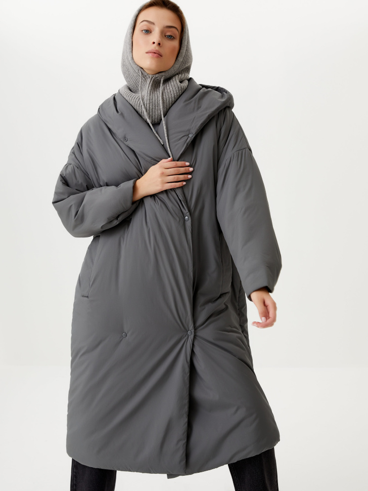 Пальто-халат с капюшоном (серый, XS)