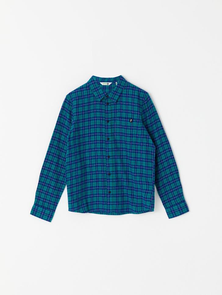Рубашка в клетку для мальчиков (зеленый, 128/ 8-9 YEARS)