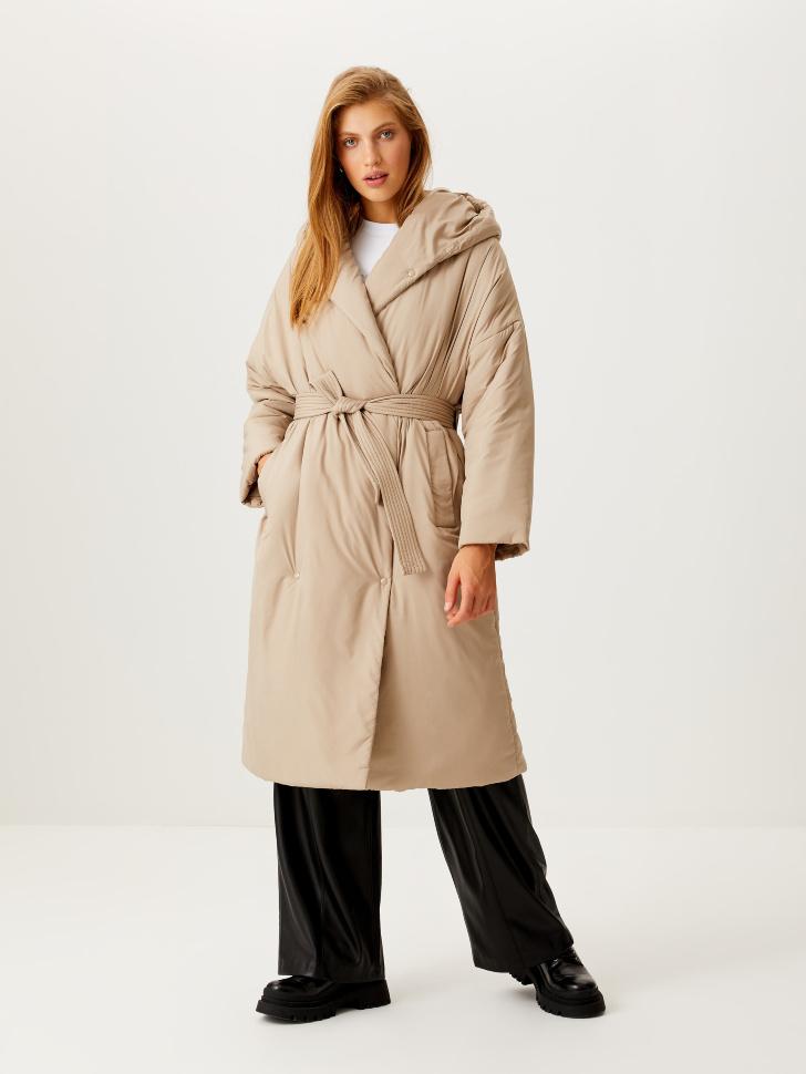 Пальто-халат с капюшоном (бежевый, S)