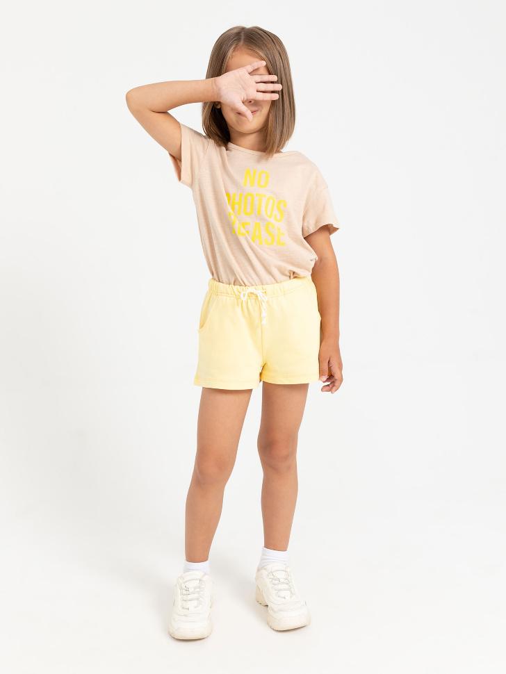 SELA Трикотажные шорты для девочек (желтый, 104/ 4-5 YEARS)
