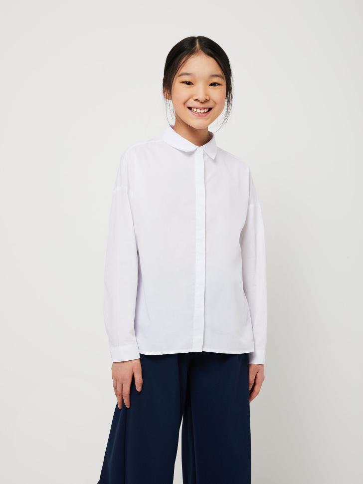 Блузка оверсайз для девочек (белый, 122/ 7-8 YEARS)