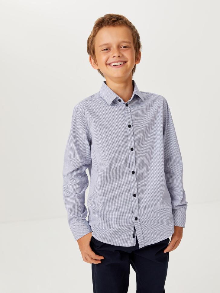 Школьная рубашка в мелкую клетку для мальчиков (голубой, 146/ 11-12 YEARS)