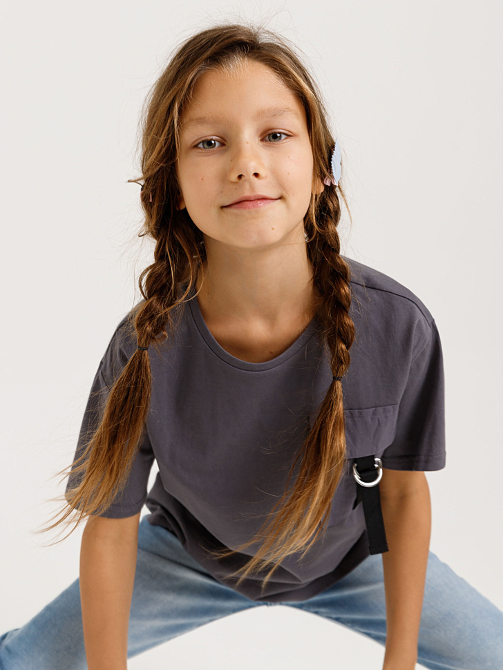 Купить со скидкой футболка с накладным карманом для девочек (серый, 146/ 11-12 YEARS)