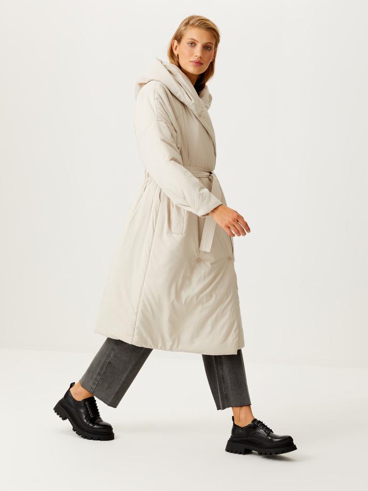 Пальто-халат с капюшоном (белый, S)