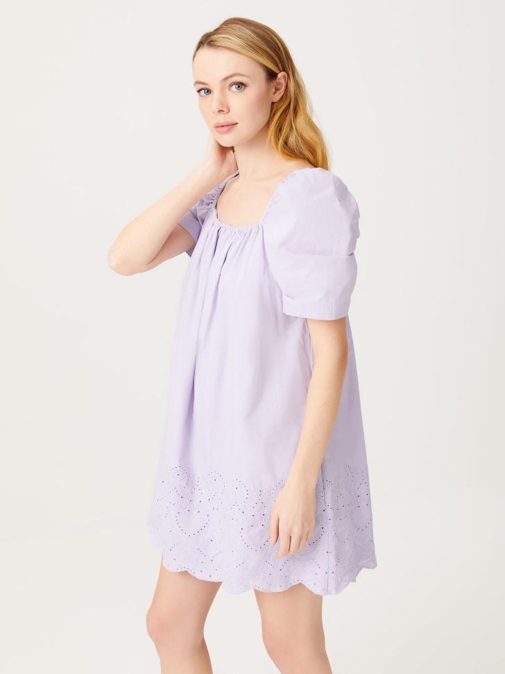 Платье с вышивкой (сиреневый, XS)