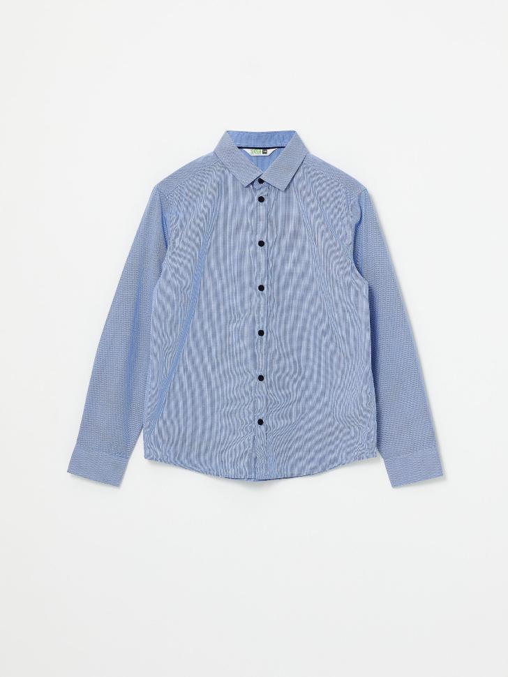 Школьная рубашка в мелкую клетку для мальчиков (белый принт, 164/ 14-15 YEARS)