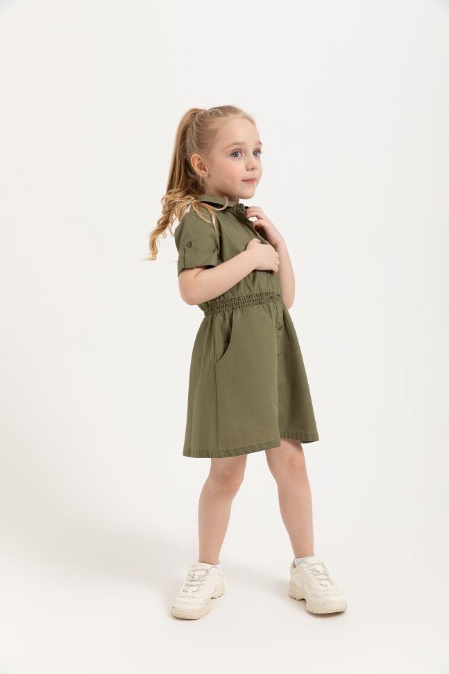 SELA Платье с отложным воротником для девочек (зеленый, 116/ 6-7 YEARS)