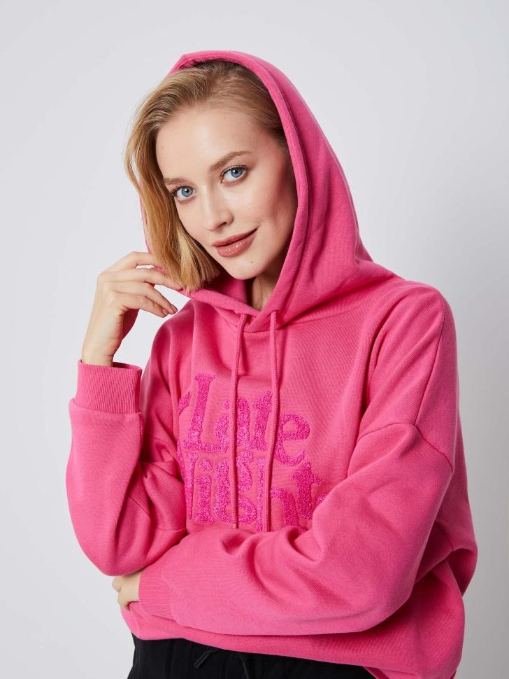 Худи с рельефным принтом (розовый, L)