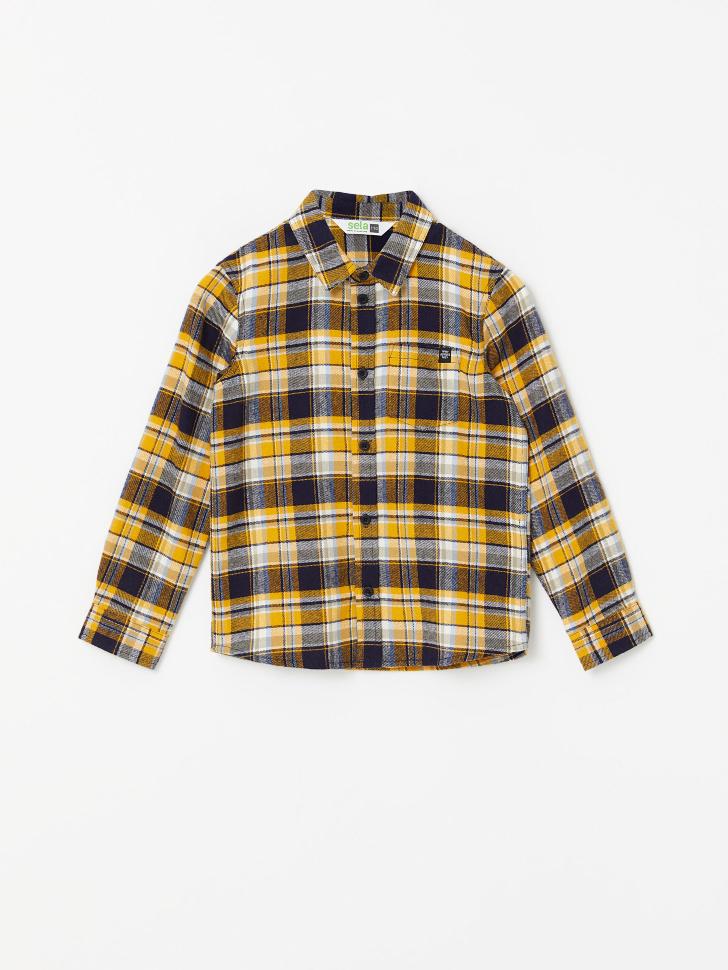 Рубашка в клетку для мальчиков (бежевый, 110/ 5-6 YEARS)