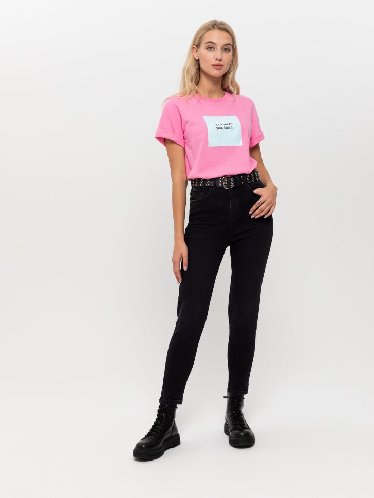 брюки джинсовые женские (черный, L)