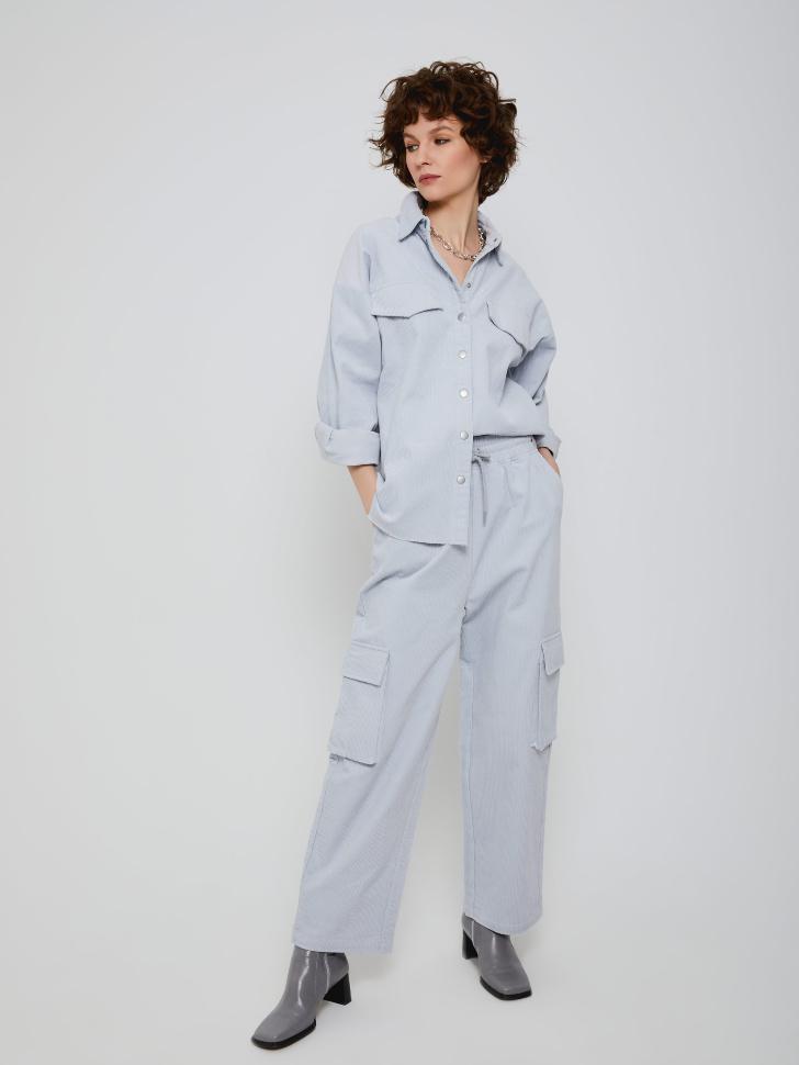 Широкие вельветовые брюки (голубой, XS)