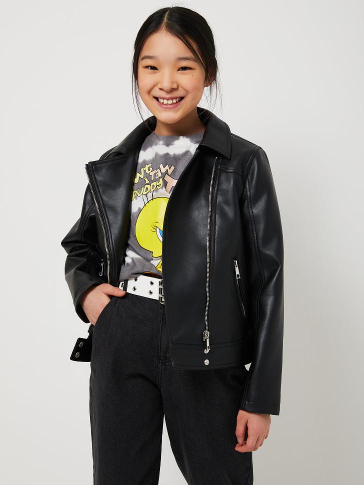 Куртка-косуха для девочек (черный, 152/ 12-13 YEARS)