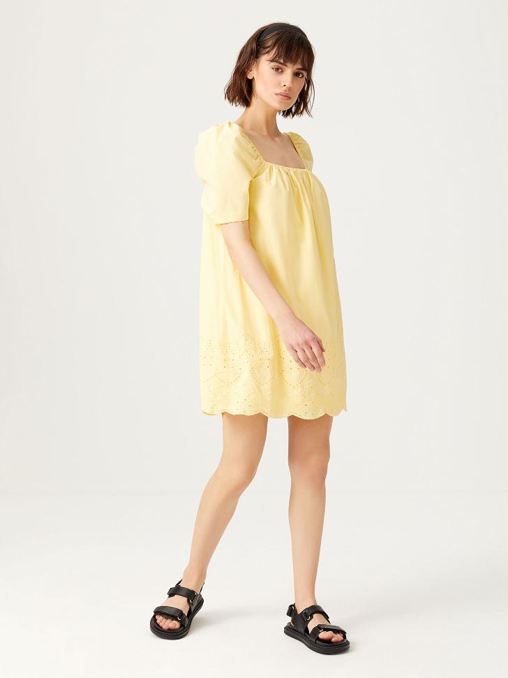 Платье с вышивкой (желтый, M)