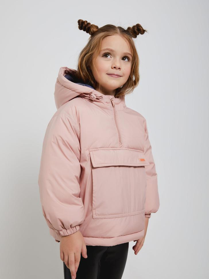 Объемный анорак с капюшоном для девочек (розовый, 116/ 6-7 YEARS)