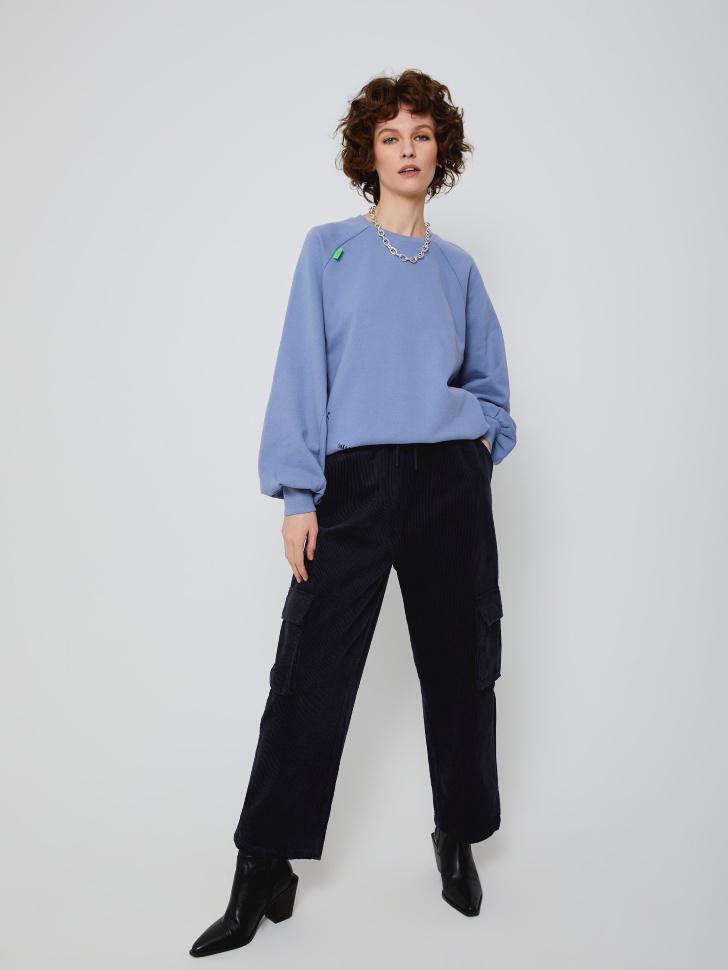 Широкие вельветовые брюки (синий, L)