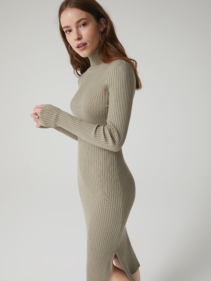 Купить со скидкой платье из трикотажа в рубчик (зеленый, XL)