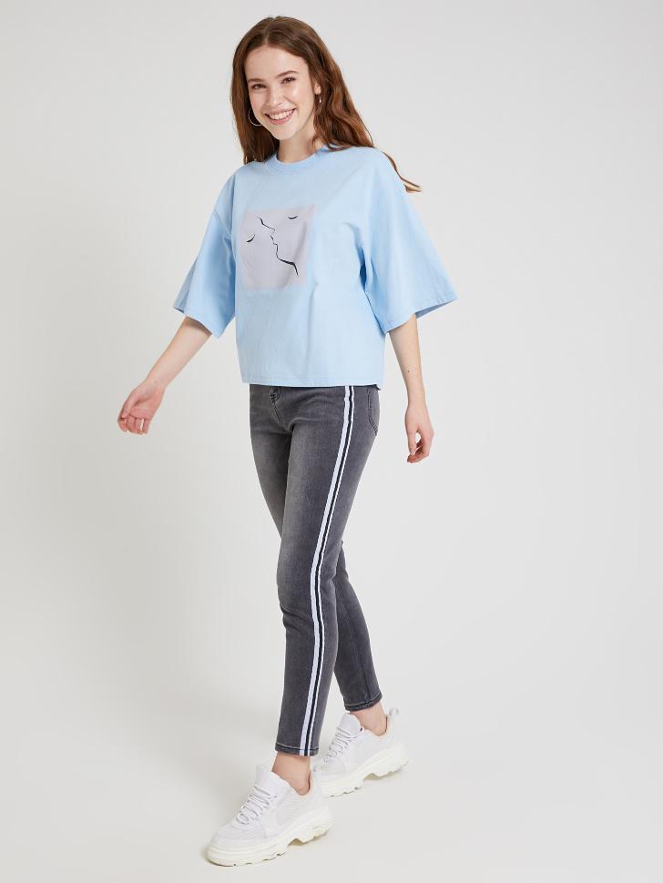 джинсы с лампасами (серый, S)