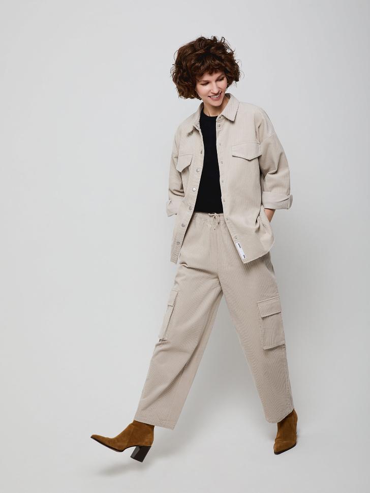 Широкие вельветовые брюки (белый, M)