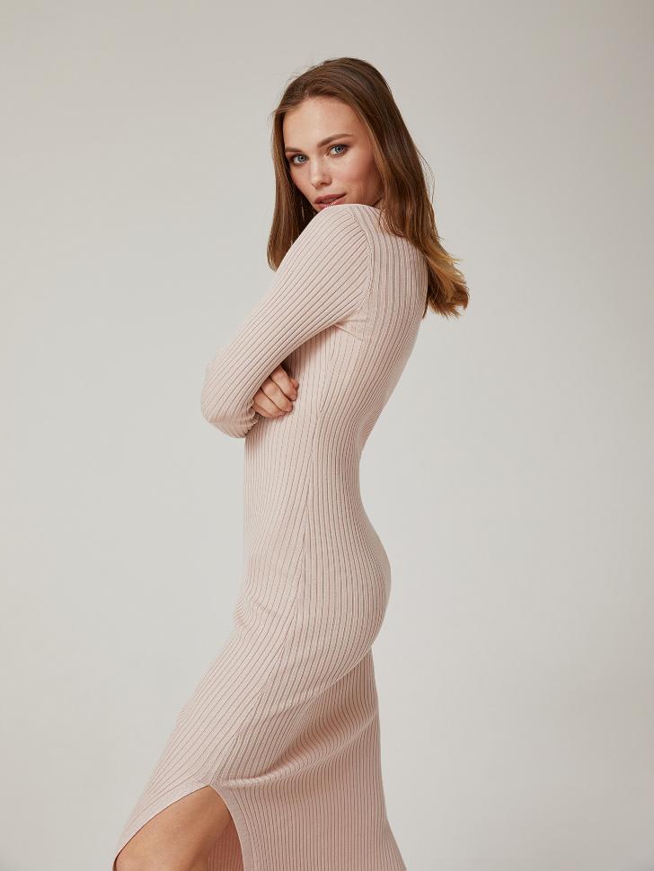 Купить со скидкой платье из трикотажа в рубчик (розовый, XS)