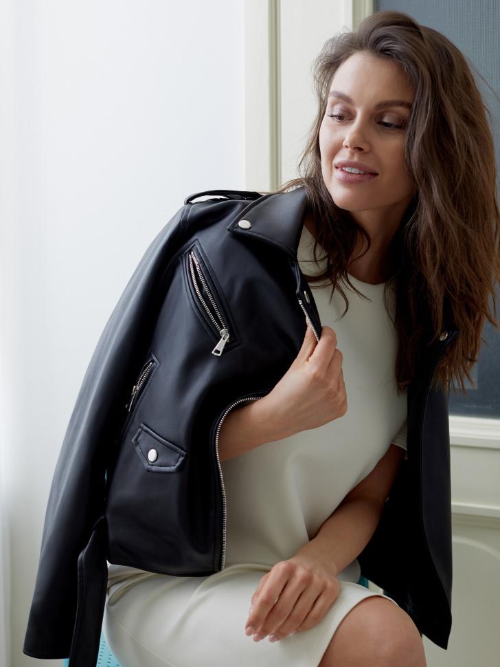 Куртка- косуха из искусственной кожи (черный, XL)