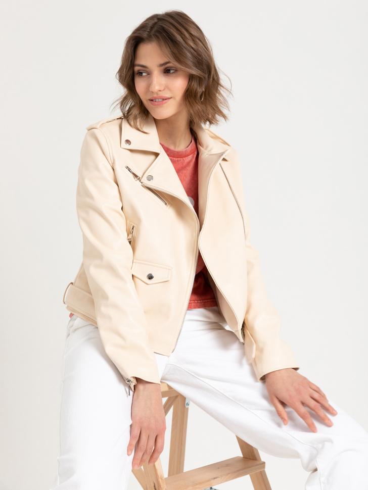 Куртка- косуха из искусственной кожи (бежевый, M)