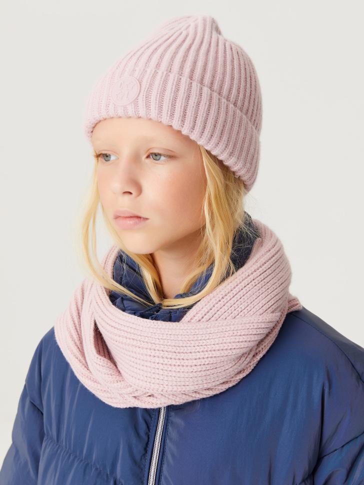 Вязаная шапка в рубчик для девочек (розовый, 50 - 52)