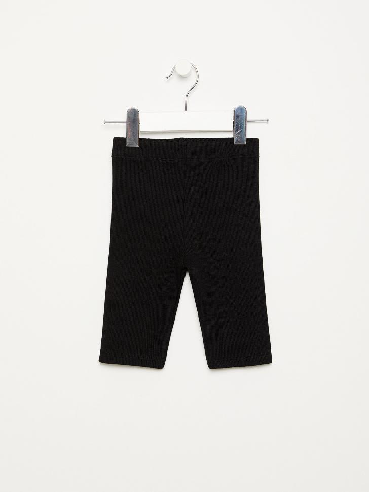 SELA Велосипедки в рубчик для девочек (черный, 104/ 4-5 YEARS)
