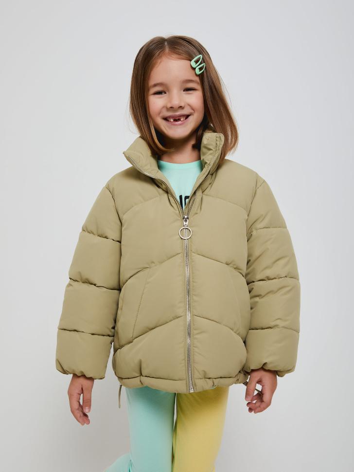 Короткая куртка с воротником для девочек (зеленый, 116/ 6-7 YEARS)