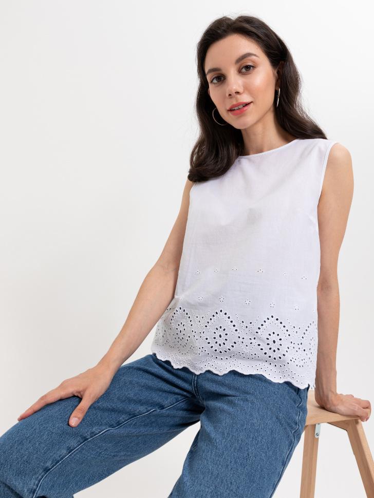Блузка с вышивкой ришелье (белый, XS)
