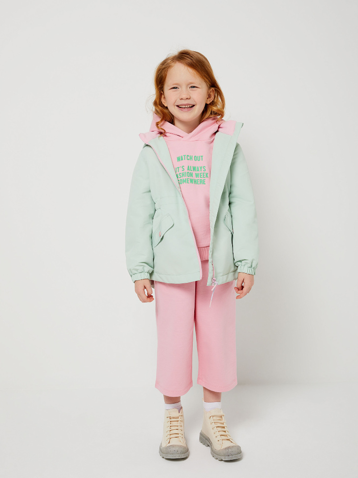 Куртка на флисовой подкладке для девочек (зеленый, 104/ 4-5 YEARS)