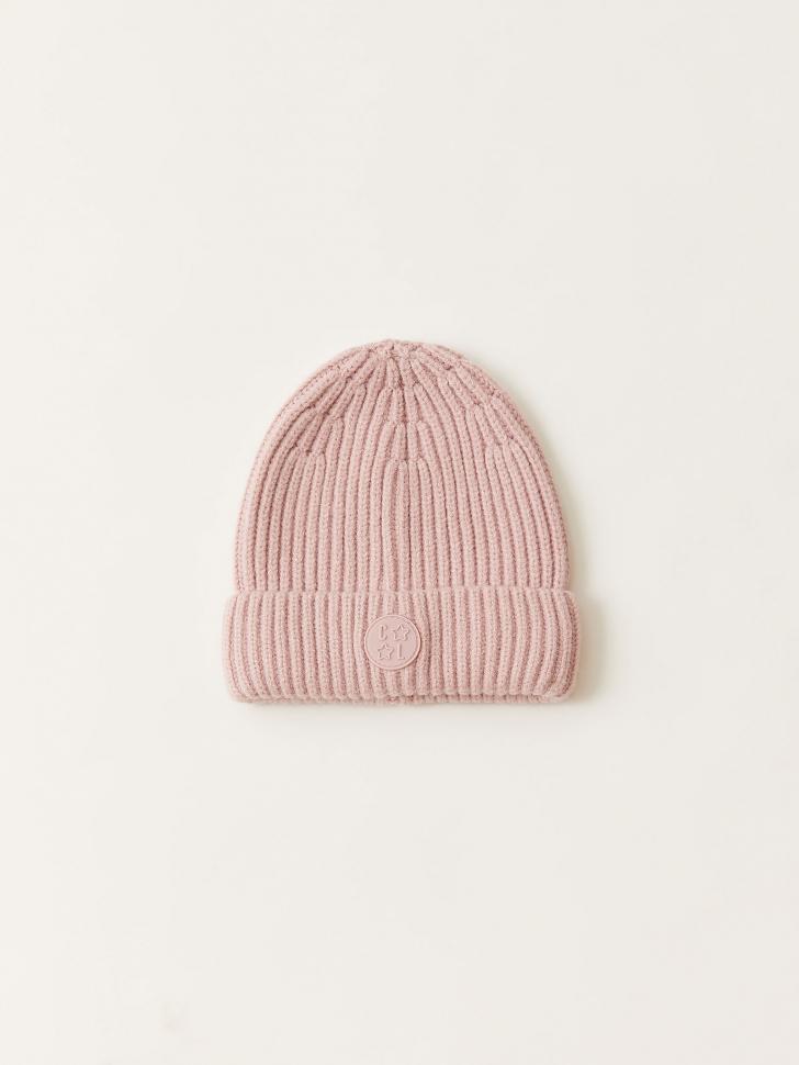 Вязаная шапка в рубчик для девочек (фиолетовый, 52 - 54)